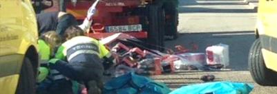 Accidente camionero herido al manipular carga en Inca islas baleares